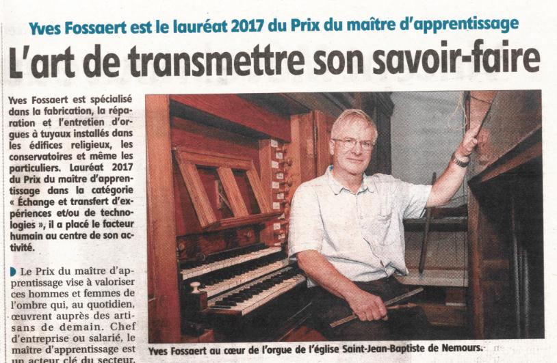 l'art de transmettre son savoir faire - prix du maitre d'apprentissage - orgues Fossaert - 77 seine et marne Nemours